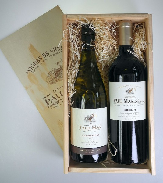Paul Mas 2er Holzkiste Südfrankreich Merlot & Chardonnay