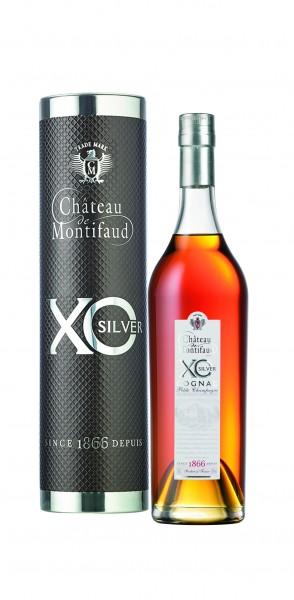 Cognac XO Silver Chateau Montifaud in dekorativer Metallröhre
