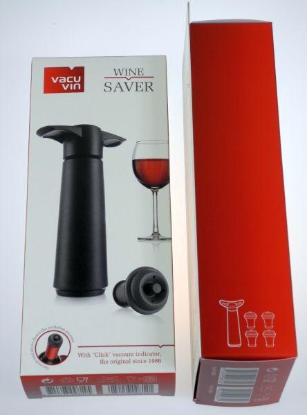 Vacuvin Weinpumpe schwarz mit 4 Verschlüssen