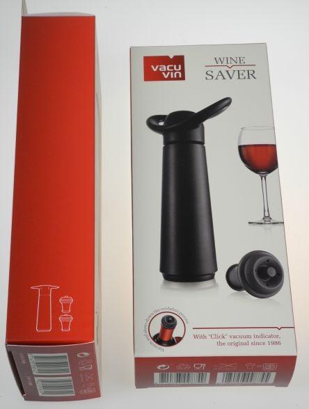 Vacuvin Weinpumpe schwarz mit 2 Verschlüssen