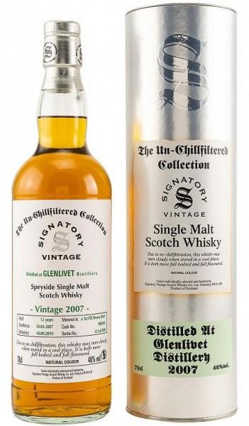 Glenlivet 2007er unchillfiltered Signatory Single Malt Whisky bottled 2020