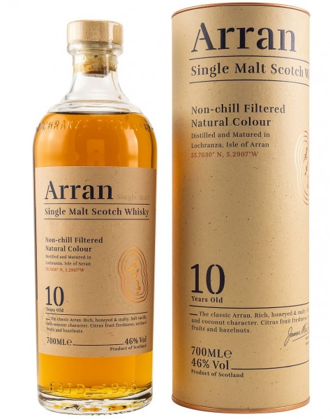 Arran 10 years single Malt non chill filtered Whisky